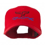 Whale Tail Outline Embroidered Cap - Red