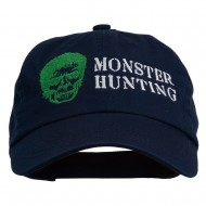 Halloween Monster Hunting Embroidered Washed Cap - Navy