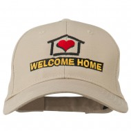 Welcome Home Embroidered Cotton Twill Cap - Khaki