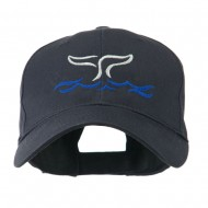 Whale Tail Outline Embroidered Cap - Navy