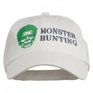 Halloween Monster Hunting Embroidered Washed Cap - White