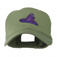 Halloween Wizard Hat Embroidered Cap - Olive