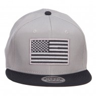 Grey American Flag Patched Two Tone Snapback - Black Grey