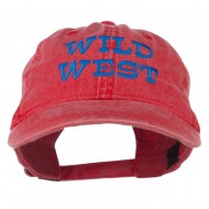 Wild West Embroidered Washed Cap - Red
