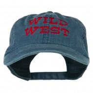 Wild West Embroidered Washed Cap - Navy