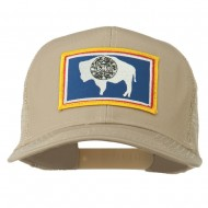Wyoming State Flag Patched Mesh Cap - Khaki