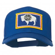 Wyoming State Flag Patched Mesh Cap - Royal