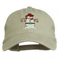 Western Snowman Embroidered Washed Dyed Cap - Stone