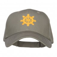 Captain Wheel Logo Embroidered Cotton Cap - Olive