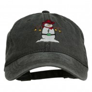 Western Snowman Embroidered Washed Dyed Cap - Black