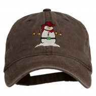 Western Snowman Embroidered Washed Dyed Cap - Brown