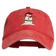 Western Snowman Embroidered Washed Dyed Cap - Red