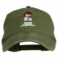 Western Snowman Embroidered Washed Dyed Cap - Olive Green
