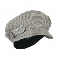 Women's Paper Braid Newsboy Hat with Velvet Bow Trim - Taupe