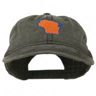 Wisconsin State Map Embroidered Washed Cotton Cap - Black
