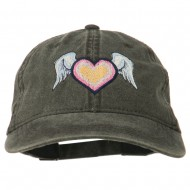 Heart Angel Wings Embroidered Washed Cap - Black