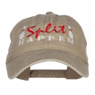 Bowling Split Happen Embroidered Washed Cap - Khaki