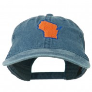 Wisconsin State Map Embroidered Washed Cotton Cap - Navy