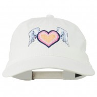 Heart Angel Wings Embroidered Washed Cap - White
