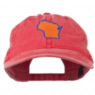 Wisconsin State Map Embroidered Washed Cotton Cap - Red