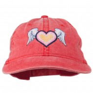 Heart Angel Wings Embroidered Washed Cap - Red