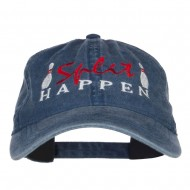 Bowling Split Happen Embroidered Washed Cap - Navy