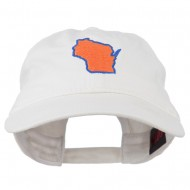 Wisconsin State Map Embroidered Washed Cotton Cap - White