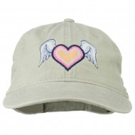 Heart Angel Wings Embroidered Washed Cap - Stone