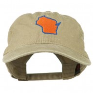 Wisconsin State Map Embroidered Washed Cotton Cap - Khaki