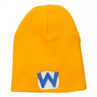Circle Wario Embroidered Short Beanie - Gold