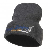 Wind Surfing Embroidered Long Beanie - Dk Grey