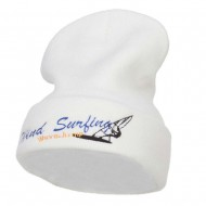 Wind Surfing Embroidered Long Beanie - White