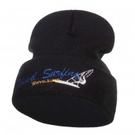 Wind Surfing Embroidered Long Beanie - Black