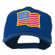 Wave American Flag Patched High Profile Cap - Royal