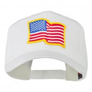 Wave American Flag Patched High Profile Cap - White