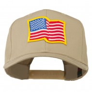 Wave American Flag Patched High Profile Cap - Khaki