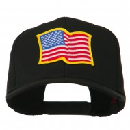 Wave American Flag Patched High Profile Cap - Black