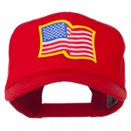 Wave American Flag Patched High Profile Cap - Red