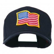 Wave American Flag Patched High Profile Cap - Navy