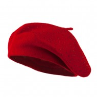 Wool Beret with Bead Spiral Design - Red