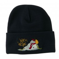 Warm Wishes Snowman Embroidered Beanie - Navy