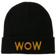 Wow Embroidered Long Knit Beanie - Black