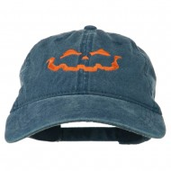 Halloween Jack O Lantern Embroidered Washed Dyed Cap - Navy