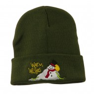 Warm Wishes Snowman Embroidered Beanie - Olive