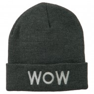 Wow Embroidered Long Knit Beanie - Grey