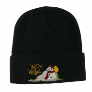 Warm Wishes Snowman Embroidered Beanie - Black