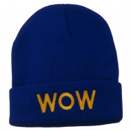 Wow Embroidered Long Knit Beanie - Royal