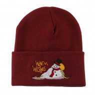 Warm Wishes Snowman Embroidered Beanie - Maroon