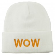 Wow Embroidered Long Knit Beanie - White