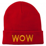 Wow Embroidered Long Knit Beanie - Red